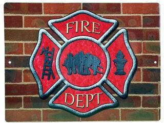 "Aluminum Sign Firemans Cross Brick Firefighting Plaque - 12"" x 9"""