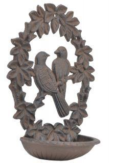 """Decorative Cast Iron Wall Mount Bird Feeder 9.75"""" Long"""