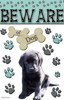 Flag Emotes Double Sided Garden Flag Beware Of Dog - Black Lab Puppy