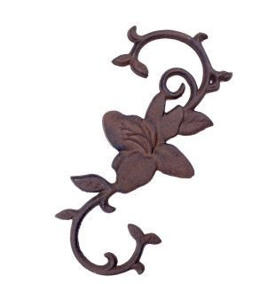 """Cast Iron S Style Plant Hook Blooming Flower 11.5"""" Long"""