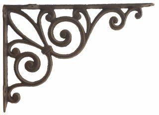 """Cast Iron Wall Shelf Bracket - Ribbon Fleur De Lis - Rust Brown - 11.375"""" Deep"""
