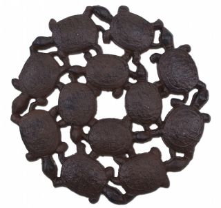 """Decorative Baby Turtles Stepping Stone - Rust Brown Cast Iron - 10.25"""" Wide"""