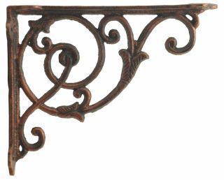 "Decorative Cast Iron Wall Shelf Bracket - Ornate Vine - 8.5"" Deep"
