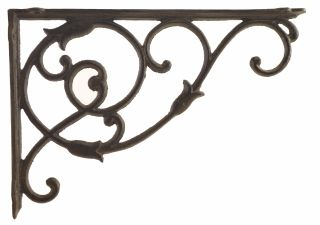 "Decorative Cast Iron Wall Shelf Bracket - Ornate Vine - 13.5"" Deep"