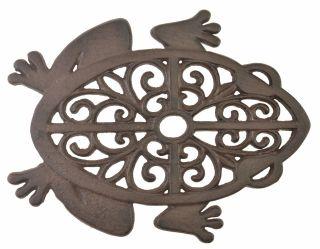 Decorative Cast Iron Yard & Garden Stepping Stone - Cutout Frog - Rust Brown