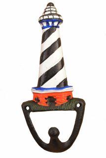 "Decorative Nautical Wall Hook - Black & White Lighthouse - 6.375"" Tall"