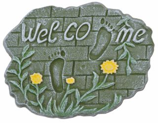 """Decorative Welcome Stepping Stone - Footprints On Brick - Cast Iron 10.75"""""""