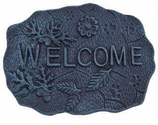 "Decorative Welcome Stepping Stone - Leaves & Acorns - Verdigris Cast Iron 11.5"""