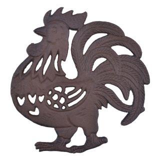 "Decorative Cast Iron Trivet Rooster 7.75"" Wide"