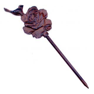 """Cast Iron Garden Hose Guide Bird On Rose 12.5"""" Tall"""