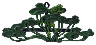 """Garden Hose Holder Frogs On Lily Pads Cast Iron 13.75"""" Long"""