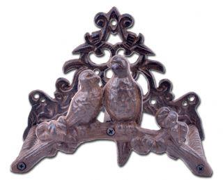 "Cast Iron Garden Hose Holder Love Birds 8.75"" Wide"