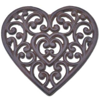 "Decorative Cast Iron Trivet Ornate Heart 8"" Wide"