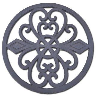 "Decorative Round Cast Iron Trivet Ornate Heart Design 8"" Wide"