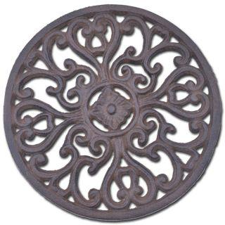 "Decorative Round Cast Iron Trivet Ornate Heart Design 7"" Wide"