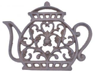 "Decorative Cast Iron Trivet Ornate Tea Kettle 7.25"" Wide"