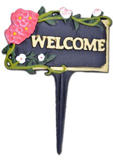 """Welcome Garden Plaque Sign Pink & White Flowers Black Cast Iron 7"""" W"""