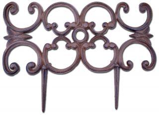 "Decorative Edging Ornate Design Brown Cast Iron 16.5"" Wide"
