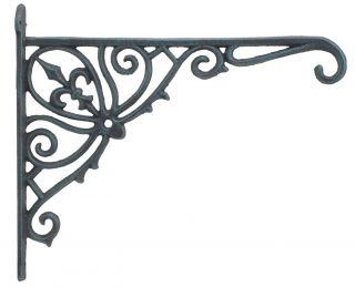 """Cast Iron Plant Hanger Ornate Fleur De Lis - 12"""" Deep"""