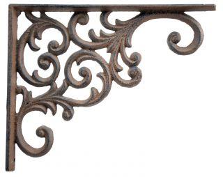 "Ornate Vine Pattern Cast Iron Wall Shelf Bracket  - 9.375"" Deep"