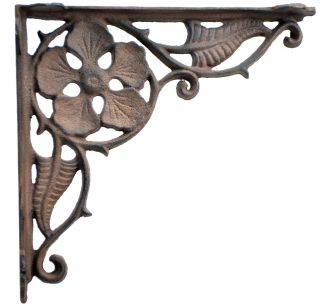 "Decorative Cast Iron Shelf Bracket - Flower Leaf - 9.375"""