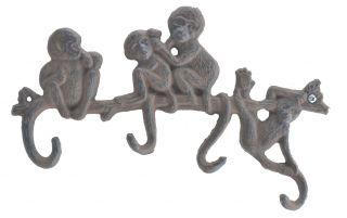 """Cast Iron 4 Hook Wall Rack Monkeys On Branch - 10.25"""" Wide"""