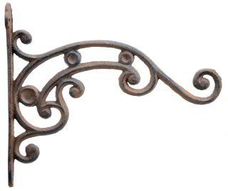 "Ornate Curled Vine Decorative Cast Iron Plant Hanger - 10.75"" Deep"