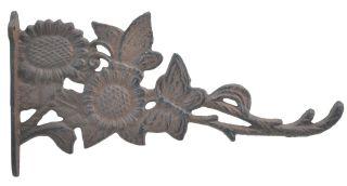 """Decorative Butterflies & Sunflowers Cast Iron Plant Hanger Hook - 11.125"""" Deep"""