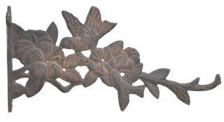 "Decorative Hummingbirds & Flowers Cast Iron Plant Hanger Hook - 11.625"" Deep"