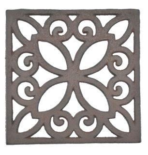 "Decorative Square Brown Cast Iron Trivet Ornate Design 6.25"" Wide"