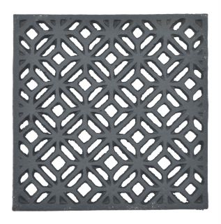 "Decorative Square Black Cast Iron Trivet Ornate Diamond Design 5.25"" Wide"