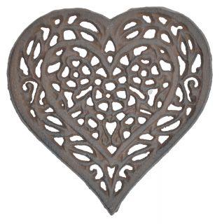 "Decorative Cast Iron Trivet - Ornate Floral Heart - 6.5"" Wide"