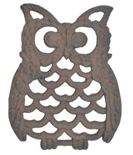 "Decorative Cast Iron Trivet - Owl 7.75"" Long"