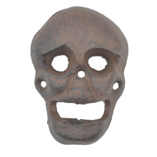 """Wall Mount Bottle Opener Skull Distressed Brown Cast Iron 3.75"""" Tall"""