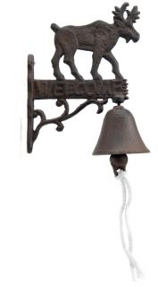 Cast Iron Dinner Bell Moose Welcome Distressed Brown