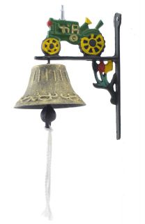 Cast Iron Dinner Bell Green Farm Tractor Colorful