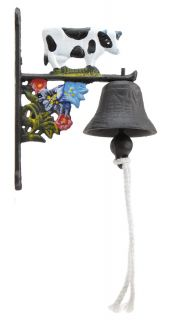 Cast Iron Dinner Bell Holstein Dairy Cow Colorful