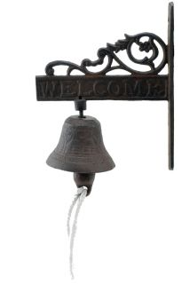 Cast Iron Dinner Bell Flower Vine Welcome Distressed Brown