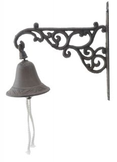 Cast Iron Dinner Bell Ornate Vine Distressed Brown