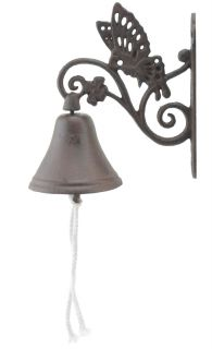 Cast Iron Dinner Bell Butterfly Floral Vine Distressed Brown