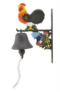 Cast Iron Dinner Bell Rooster & Flowers Colorful