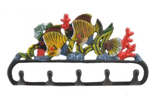 Cast Iron Wall Hook Rack Tropical Fish & Coral 11.125 Wide