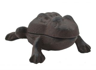 Frog Hide A Key Box Distressed Brown Cast Iron