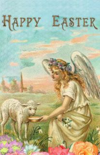 Flag Emotes - Double Sided Garden Flag - Happy Easter Angel & Lamb
