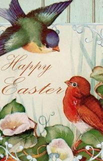 Flag Emotes - Double Sided Garden Flag - Happy Easter Spring Birds