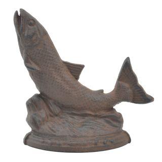 "Fish Doorstop Distressed Brown Cast Iron 7.75"" Tall"