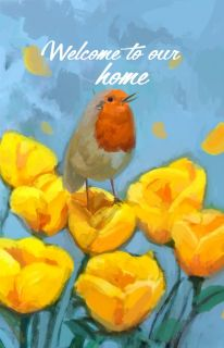 Flag Emotes Double Sided Garden Flag Bird & Flowers Welcome To Our Home