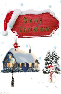 Flag Emotes - Double Sided Garden Flag - Merry Christmas Santa & Snowman