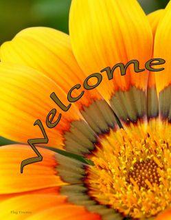 Flag Emotes - Double Sided Garden Flag - Orange & Green Flower Welcome