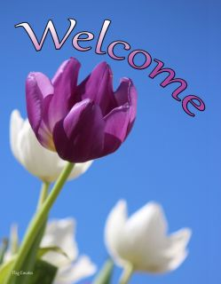 Flag Emotes - Double Sided Garden Flag - Purple & White Tulips Welcome